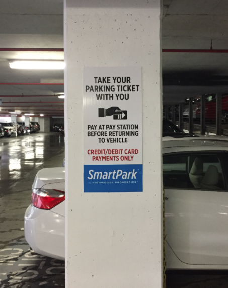 Sign on a pillar