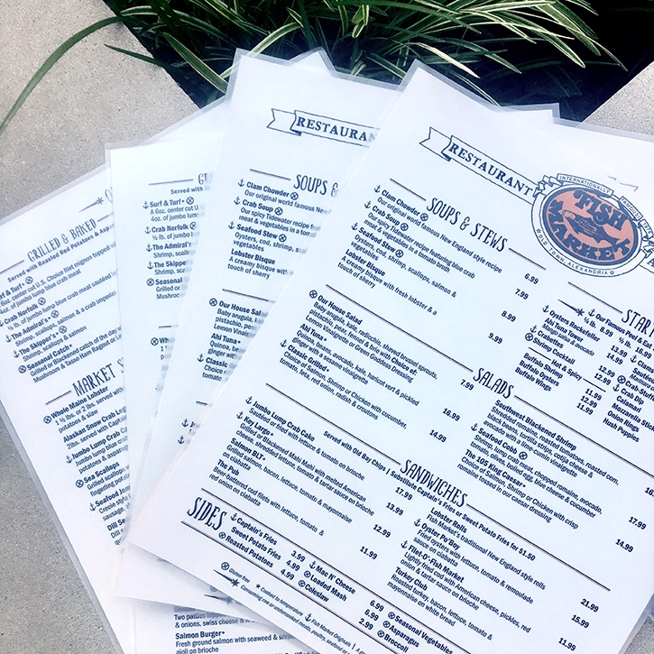 Large laminated menus for the Fish Market Restaurant in Old Town Alexandria