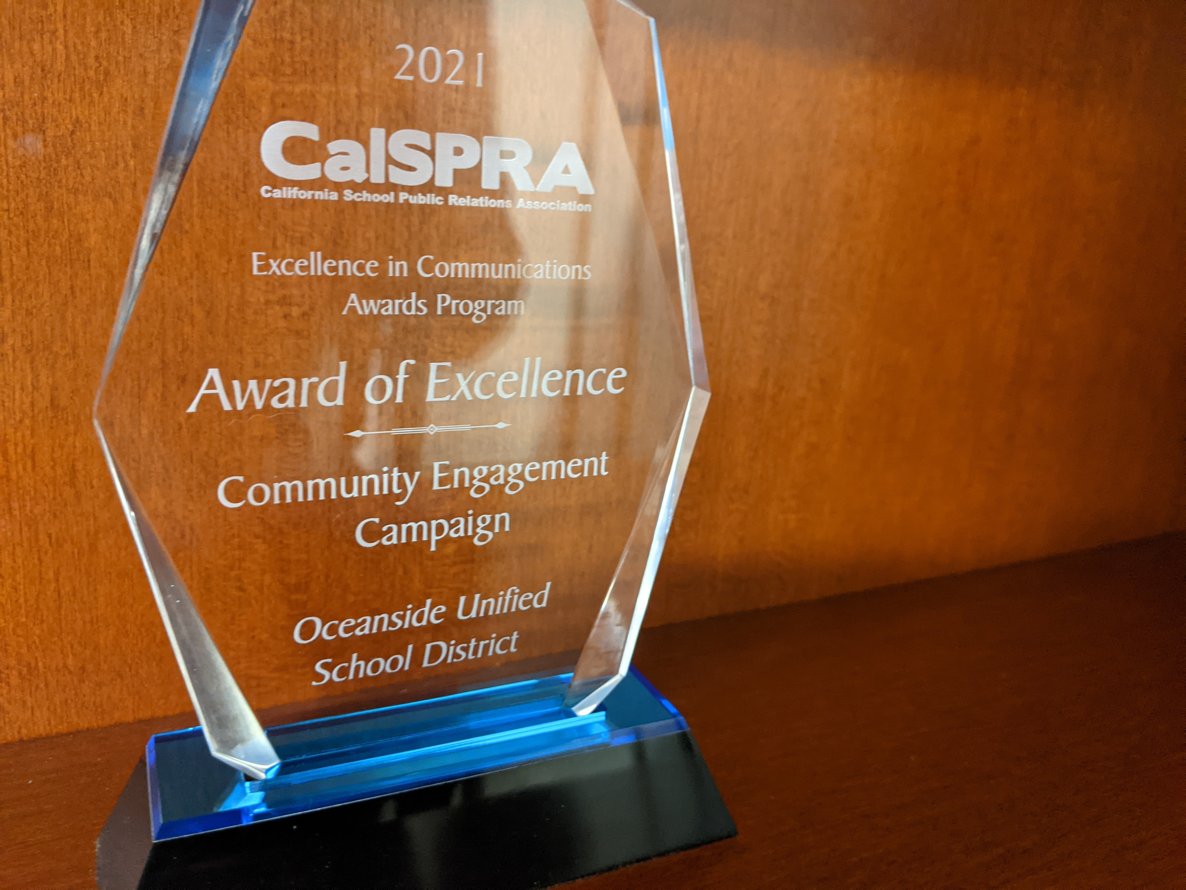 Image of CalSpra Award of Excellence awarded by the Oceanside School District