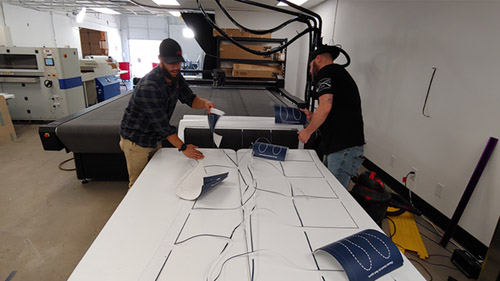 Printing floor graphics for the event