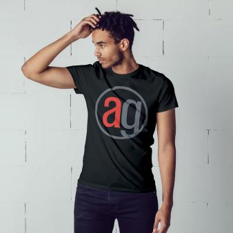 Black shirt with AG logo on model