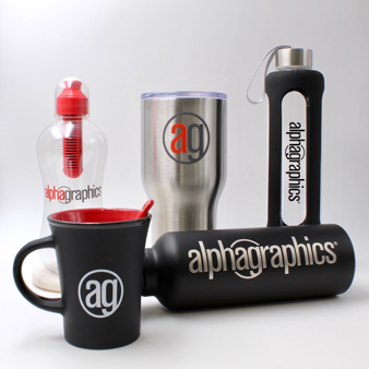 Variety of cups with AG logo on them