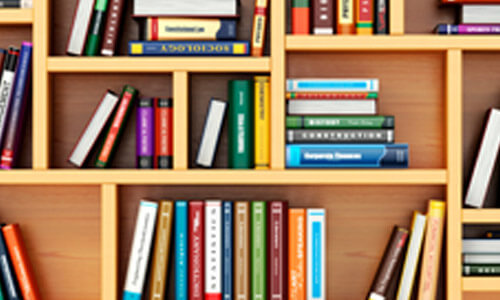 Bookshelf filled with various published books